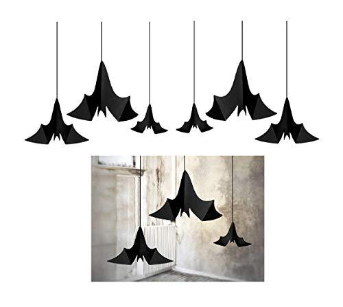 Feste Feiern Halloweendeko I 9 Teile Fledermaus Deckenhänger Spiralen Swirl schwarz I Happy Horror Halloween Party Dekoration