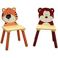 Preisvergleich für LibertyHouseToys MZ3867-BD Dschungel-Bär und Tiger 2 Stuhl-Set, Holz, braun, 26.8 x 26.8 x 51 cm