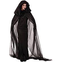Costume Strega Cattiva Con Cappuccio Mantello Cappotto Strega Robe  Halloween Cosplay Party 1167c693f2cc
