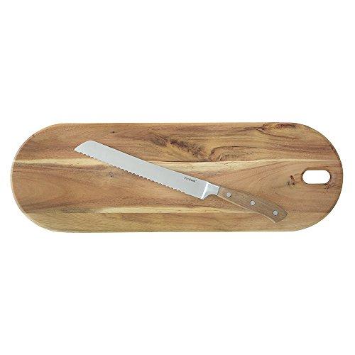 ProCook Brotmesser Akazie, mit vernietetem Griff aus Akazienholz, mit Brotschneidebrett -