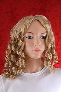 Perruque Femmes longue blond Raie au milieu Frange Bouclé Carnaval Carnaval