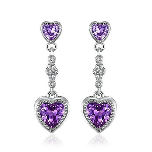 JewelryPalace Cuore Amore 4ct Sintetico Alessandrite Zaffiro Orecchino con Pendente Argento 925