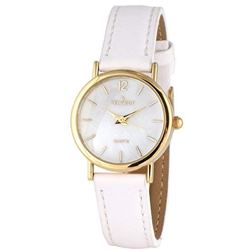 Peugeot Women's Classic 14K Plated Round Case Everyday Leather Band Dress Watch, White