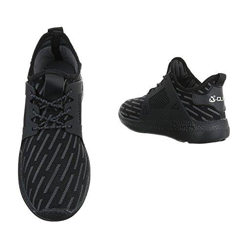 Trendy Freizeitschuhe Damen Schuhe Sneakers Turnschuhe 2297 Schwarz 39