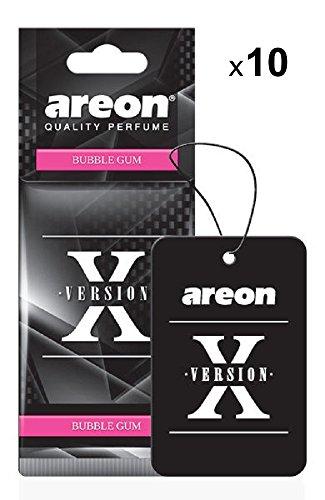 AREON X Auto Lufterfrischer Bubble Gum Duft Autoduft Kaugummi Schwarz Aufhänger Anhänger Spiegel Pappe 2D (Bubblegum Set Pack x 10)