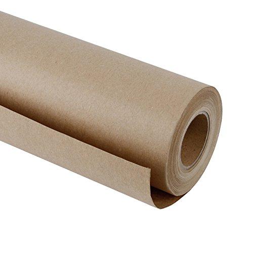 RUSPEPA Braun Kraftpapier - Natürliches Recyclingpapier, Kraftpapierrolle Ideal für Kunsthandwerk, Kunst, Kleine Geschenkverpackungen, Verpackung, Post, Versand und Pakete - 61 cm x 30 m