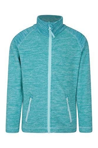 Mountain Warehouse Snowdonia Kinder-Fleecejacke - weicher Pullover, leichtes Sweatshirt, schnell trocknend, Taschen, Anti-Knötchenbildung - Für kaltes Wetter, Reisen, Frühling Blaugrün 128 (7-8 Jahre)