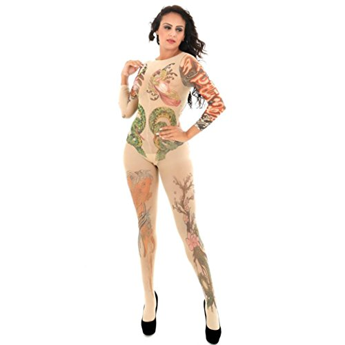Letter Damen Dessous, Frauen Dessous Set Erotische Dessous Nightgown Unterwäsche Bodystockings Perspektive Print Tattoo Unterwäsche Pyjama (Tattoo Bodysuit Kostüm)