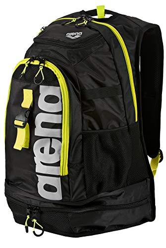 arena Unisex Profi Triathlon Rucksack Fastpack 2.1 für Schwimmer und Triathleten (11 Fächer, 40x35x55cm), Black-Fluo Yellow-Silver (50), One Size