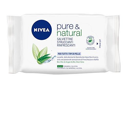 Nivea - Pure & Natural, Salviettine Struccanti Viso, Tutti I tipi di Pelle - 25 Salviette