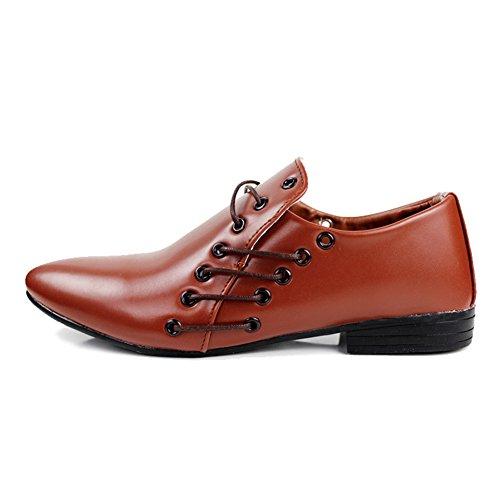 XiaoYouYu Chaussures pour hommes en cuir À Enfiler Habillé Décontracté Mariage Marron