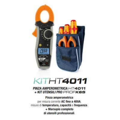 HT KITHT4011 HT4011 Pinza Amperometrica Misura Corrente AC fino 400A Misure Temperatura capacità Frequenza + Omaggio PROFK6S Marsupio Completo Utensili Forbici Cacciaviti HA004011