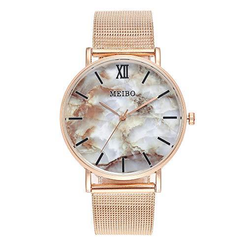 Damen Fashion Armbanduhr Analog Quarz, Frauen Casual Uhren mit Edelstahl Mesh Damenuhr Einfache Marmor Zifferblatt 2019 LEEDY