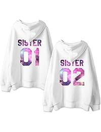Beste Freunde Friends Kapuzenpullis für Zwei Damen Sweatshirts Partner Look  Pullover mit Kapuze Hoodie BFF Winter Pulli… 4747c8c4e2
