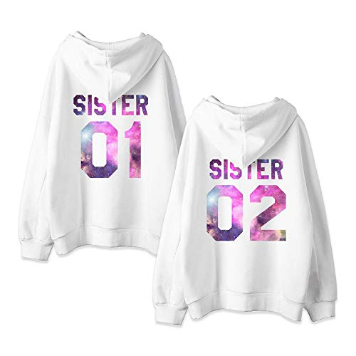Beste Freunde Friends Kapuzenpullis für Zwei Damen Sweatshirts Partner Look Pullover mit Kapuze Hoodie BFF Winter Pulli Freundschaft 2 stücke(Weiß+Weiß,sister-01-S+02-S)