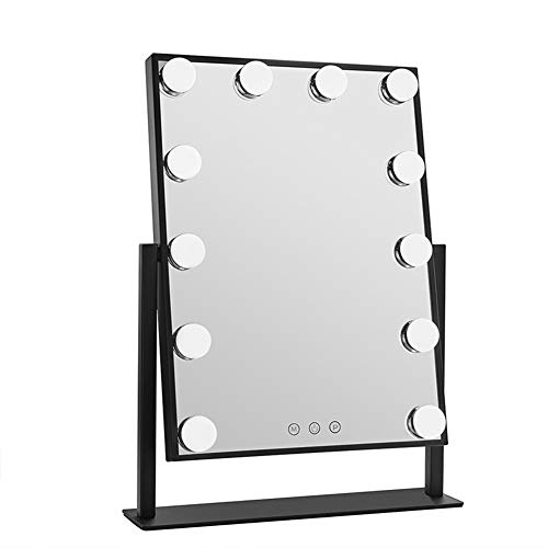 Espejo LED con Espejo de Bombilla Espejo de sobremesa Profesional de Gran tamaño, luz de Relleno Inteligente...