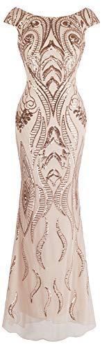 Angel-fashions Damen Bateau Uberwurfhulse Blumen Paillette Mantel V Zuruck Abendkleid Large