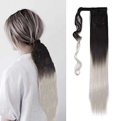 Extension coda capelli clip in hair coda di cavallo fascia unica lisci lunghi 58cm posticci per donna ponytail 120g, castano medio ombre grigio argento