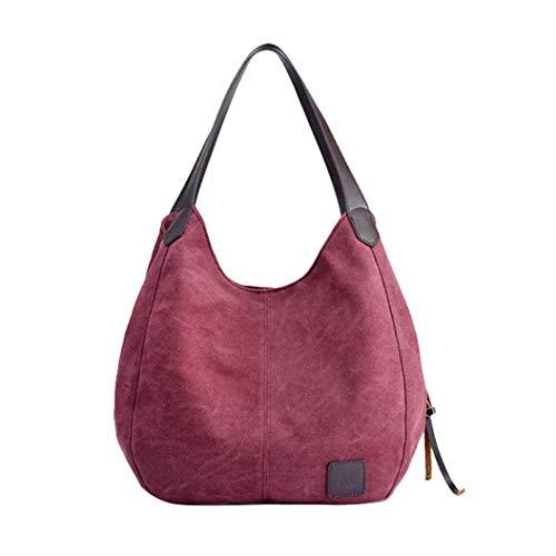 Canvas Umhängetasche FORH Handtasche Vintage Satchel Frauen Kuriertasche Canvas Tasche Shopper Hobo Bag Schultertasche Messenger Bag für Büro Tägliches Leben Reise (Lila) -