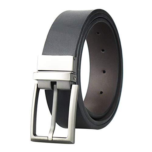 Men's reversible leather dress belt, with swivel buckle, 3,3 cm wide Black matte black 34 / 36W x 39L