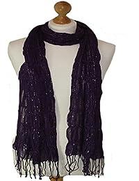 Purple elasticated scarf with lurex adornment (Purple) 792-PU