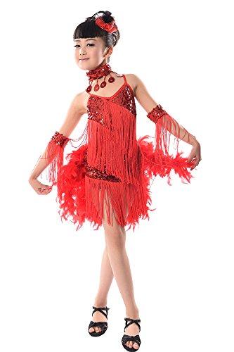 BOZEVON Kinder Mädchen Sequined Lateinisches Tassel Dancewear Tanzen Kleid Kostüm