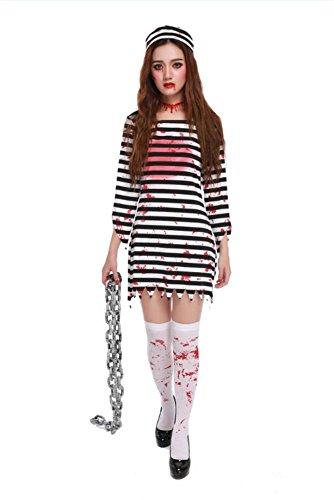 Halloween-Rolle spielen Service Horror Zombie Blut weiblichen Gefangenen Anzug cosplay Halloween-Gefangenen vorgeben zu dienen , (Masken Cartoon Charakter)