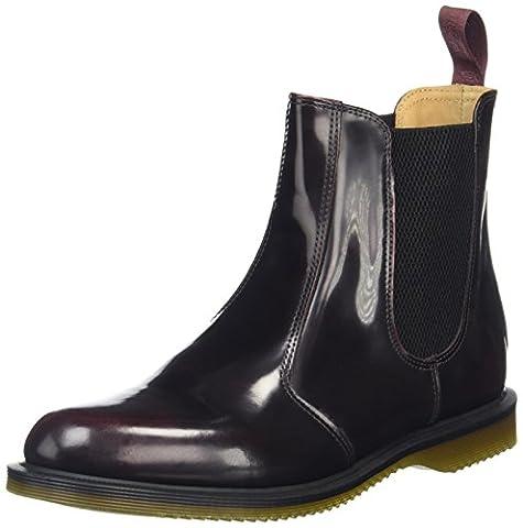 Dr Martens Women's Flora Leather Burgundy Pull On Boots 14650601 3 (Borgogna In Pelle Di Avvio Boot)