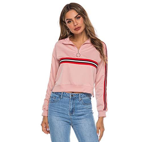 Hanomes Damen Casual Tops Damen Casual Damen Herbst rosa weiß und schwarz Farbe passenden Sweatshirt Stehkragen Reißverschluss Langarm JackeNähen Mantel Spleißen Sweatshirts