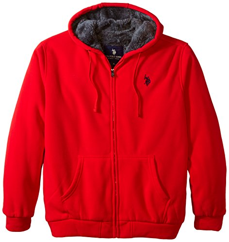 U.S. Polo Assn. Men's Big-Tall Fleece Hoodie with Sherpa Lining, Engine Red, 3X Big And Tall Mens Fleece
