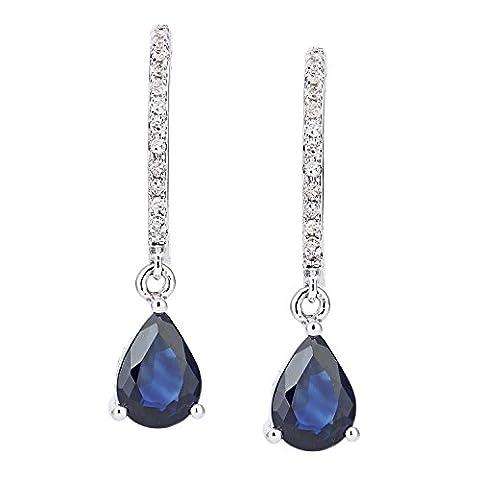 Revoni Bague en or blanc–18carats Diamant et Saphir Créoles Pendantes en cristaux