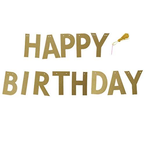 GROOMY Happy Birthday Banner Glitter Bunting Flagge Girlande Partydekorationen hängen 3m - Gold (Birthday Happy Banner Glitter)