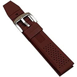 New Brown Silicone Rubber Diver Watch Strap Band Waterproof Sport Buckle 22mm