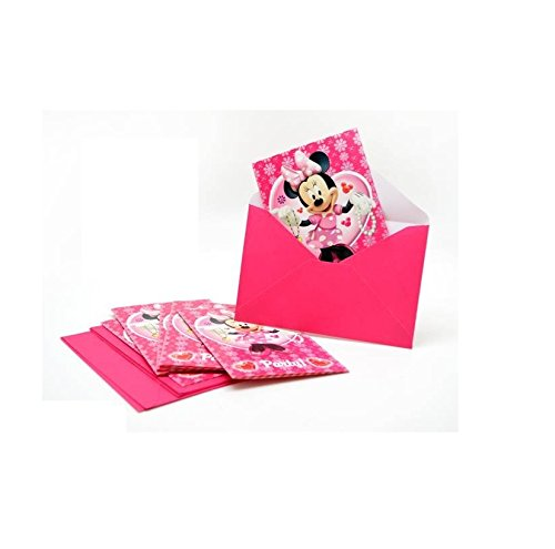 Lot-6-carte-invitation-enveloppes-Minnie-Disney-Fte-Anniversaire-496