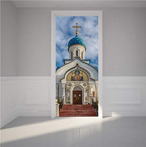 BAIYUDE 2 Panels Europe Church Wall Stickers Durch Aufkleber Tapete Aufkleber Home Decoration 70X204cm