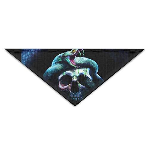 nxnx Hundebandana-Schal-Dreieck-Lätzchen-Schlange auf Schädel-Fantasie-Drucken-Halstuch, Katzen-Geburtstags-Zusätze (Schlange Um Den Hals Kostüm)