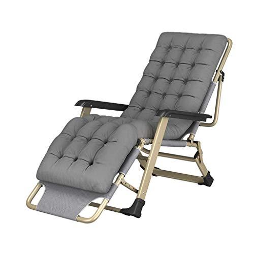 AA-SS-Folding chair Faltbarer Liegestuhl Lazy Reclining Relaxer Leisure Liegestuhl Tragbarer Erwachsener Strand Balkon Garten Schlafzimmer Grau Gewicht 200kg -
