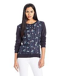 Tommy Hilfiger Womens Cotton Sweatshirt (A6AWH012XS_Navy Blazer and Charis Star Prt Navy Blazer)