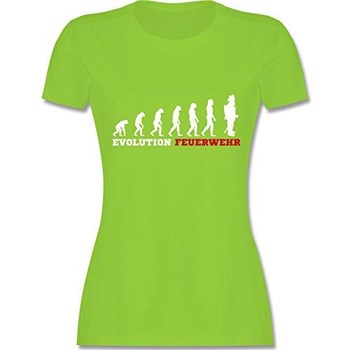 Shirtracer Feuerwehr - Evolution Feuerwehr - Damen T-Shirt Rundhals Hellgrün