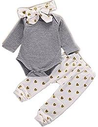 El bebé ropa de la blusa, RETUROM Venta Caliente Linda Preciosa 1Ponga ReciÉN Nacido Muchachas De Los BebÉS De Los Ciervos Camisetas Pantalones Romper Sombrero 3PCS Conjuntos De Ropa