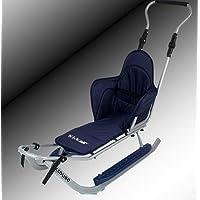 Sport Schlitten mit Lehne,Sitzauflage,Stange,Verschiedene Farbvarianten , NEU (silber-blau)