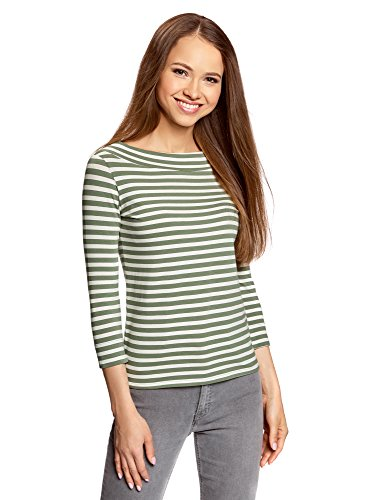 oodji Collection Donna T-Shirt con Maniche a 3/4 Verde (1266S)