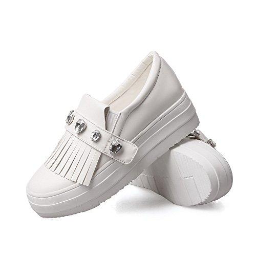 AgooLar Damen Pu Leder Rein Ziehen Auf Rund Zehe Mittler Absatz Pumps Schuhe Weiß