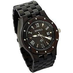 ideashop schwarz Sandelholz Big Fall Uhren Luxus Bewegung Quarz Holz Uhr mit Datum Kalender Einzigartiges Geschenk