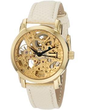 Akribos XXIV Damen AKR431YG Diamant Gold-Schweizer Quartz Schwimmende Uhr