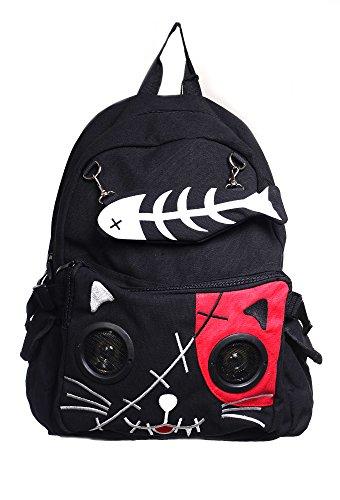 Banned Punk Kitty Mochila con Altavoces Empotrados (Rojo)