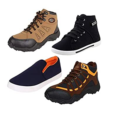 Earton Men Combo Pack of 4 Casual Sneaker with Loafer Shoes