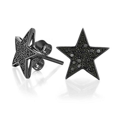 Bling Jewelry Sterling Silber Black Star Micropave CZ Stud Mens Ohrringe (Ohrringe Black Star)