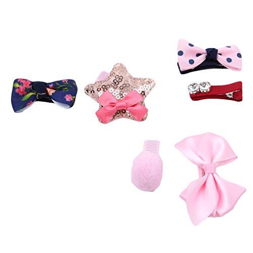 �r Babys, Mädchen, mit Schleife, Cartoon-Haarklammern, Krokodilklemmen 4.33*3.93in Pink Bow Sequins Stars 4 ()