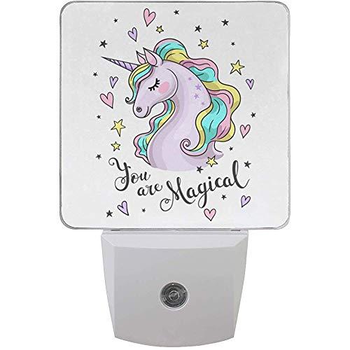 2 Pack Magical Unicorn Head Heart Star Printing Night Light Luz del atardecer al amanecer Plug in Wall Light, UK